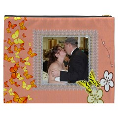 Butterfly Trail Peach  Cosmeyic Bag (xxxl) By Kim Blair   Cosmetic Bag (xxxl)   Ogvwo9x1avez   Www Artscow Com Back