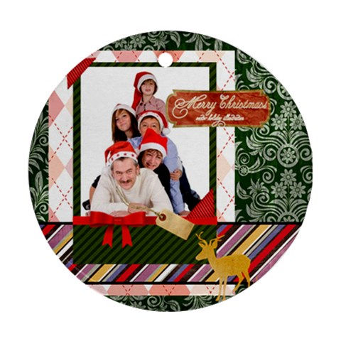 Merry Christmas By Betty   Ornament (round)   R4ngf7rvtqis   Www Artscow Com Front