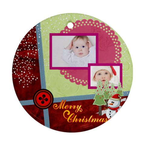 Merry Christmas By Betty   Ornament (round)   09gfu8s3hmp5   Www Artscow Com Front