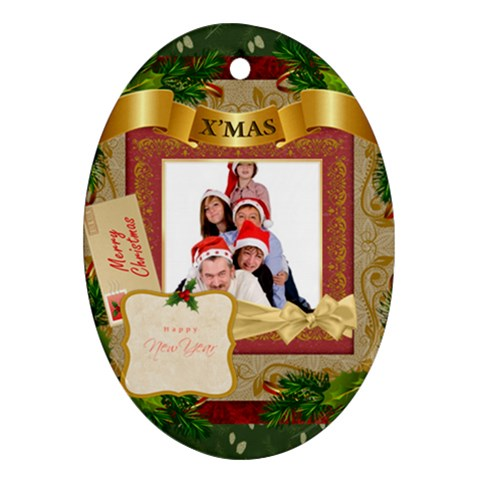 Merry Christmas By Betty   Ornament (oval)   N8h5t4mm3my2   Www Artscow Com Front
