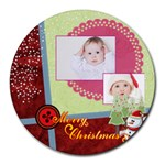merry christmas - Round Mousepad