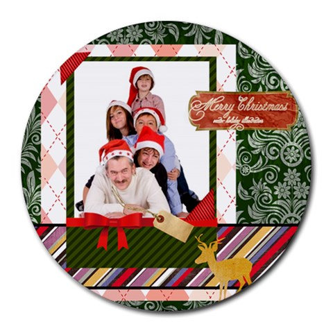 Merry Christmas By Betty   Round Mousepad   Uk5r8w4nwsav   Www Artscow Com Front