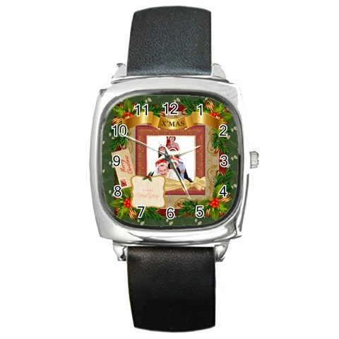 Merry Christmas By Betty   Square Metal Watch   8khmj3i09hko   Www Artscow Com Front