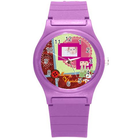 Merry Christmas By Betty   Round Plastic Sport Watch (s)   Qh11zmy45l5a   Www Artscow Com Front