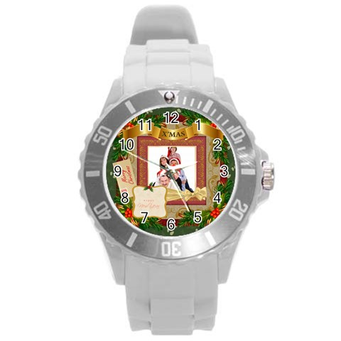 Merry Christmas By Betty   Round Plastic Sport Watch (l)   Vmvoaujpbn0j   Www Artscow Com Front