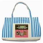 Hug the one you love. - Striped Blue Tote Bag
