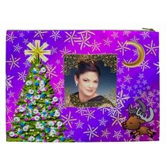 Purple Varigated Starry Christmas Cosmetic Bag (xxl) By Kim Blair   Cosmetic Bag (xxl)   92q53saqm90v   Www Artscow Com Back