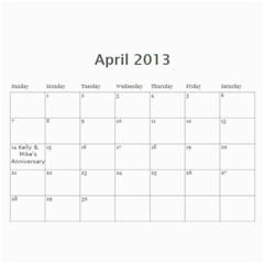 2013 Calender By Kellyjanine2 Yahoo Com   Wall Calendar 11  X 8 5  (12 Months)   Gboktika9w2n   Www Artscow Com Apr 2013