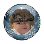 Blue Ball Round Christmas Ornament (2 sided) - Round Ornament (Two Sides)