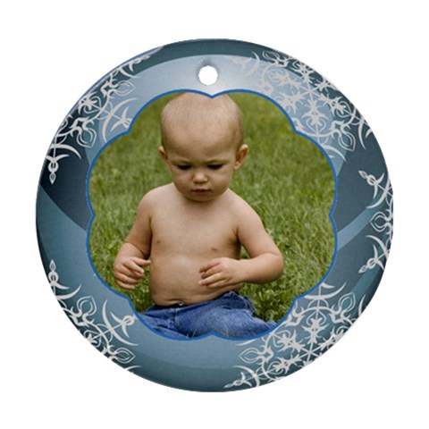 Blue Christmas Ball Ornament Round By Deborah   Ornament (round)   6kpvxer1oxd2   Www Artscow Com Front