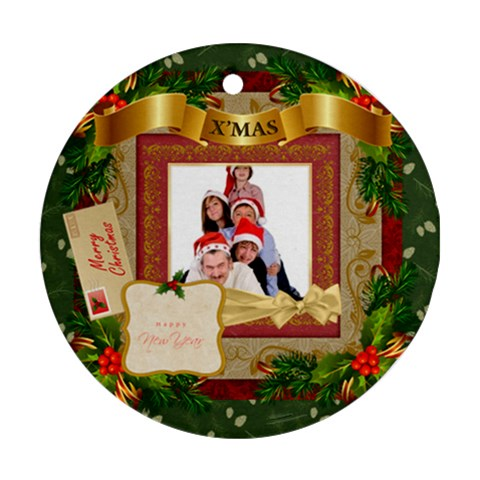 Merry Christmas By Betty   Ornament (round)   Wrdb566c0jk2   Www Artscow Com Front