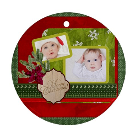 Merry Christmas By Betty   Ornament (round)   Ts415djjgws4   Www Artscow Com Front