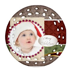 Merry Christmas By Jo Jo   Round Filigree Ornament (two Sides)   Vmtlqmqyjlf0   Www Artscow Com Front