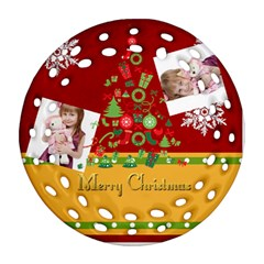Merry Christmas By Jo Jo   Round Filigree Ornament (two Sides)   4j691rv0k55y   Www Artscow Com Front