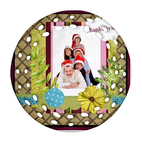 Merry Christmas By Betty   Ornament (round Filigree)   A6lnkbpdhywg   Www Artscow Com Front
