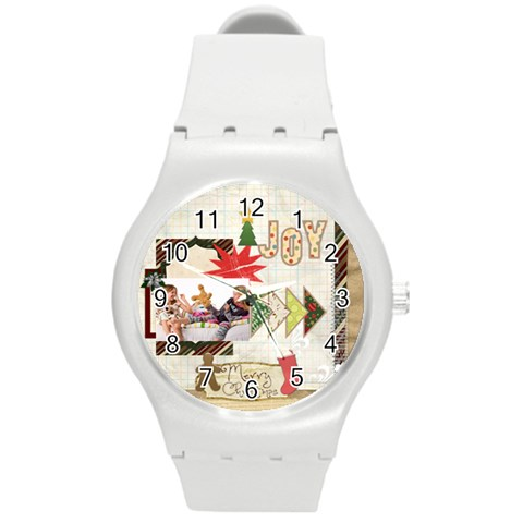 Merry Christmas By Betty   Round Plastic Sport Watch (m)   03pxld5jlwrr   Www Artscow Com Front