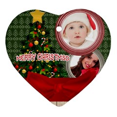 Merry Christmas By Betty   Heart Ornament (two Sides)   5qwqzafi6hpw   Www Artscow Com Back