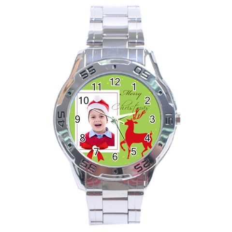 Merry Christmas By Clince   Stainless Steel Analogue Watch   20lcxz0gbkrd   Www Artscow Com Front