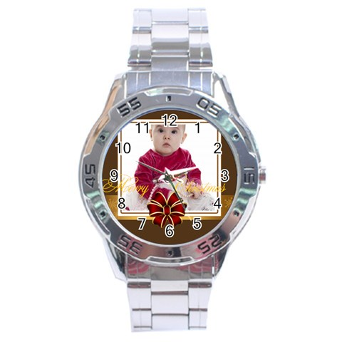 Merry Christmas By Clince   Stainless Steel Analogue Watch   Q8i8z1ycvri1   Www Artscow Com Front