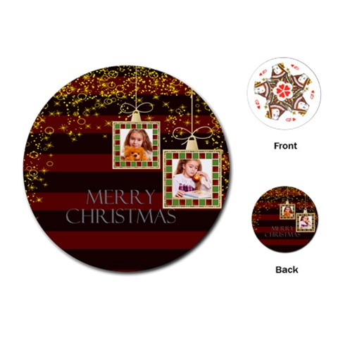 Merry Christmas By Joely   Playing Cards (round)   Ei4kwm4o76dk   Www Artscow Com Front