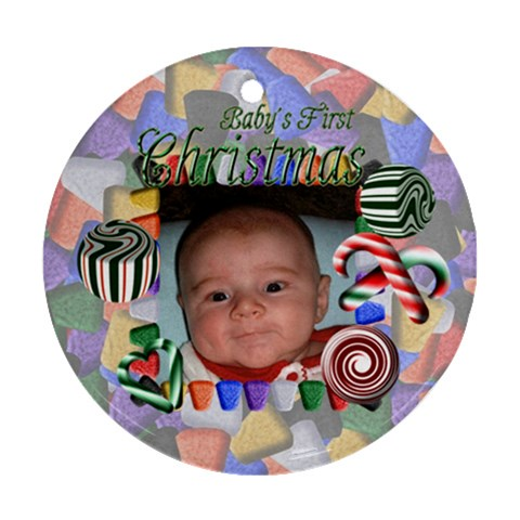 Baby s First Christmas Round Green By Chere s Creations   Ornament (round)   B5krug4si5ot   Www Artscow Com Front