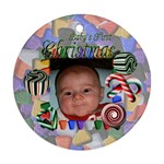 Baby s First Christmas Round Green - Ornament (Round)