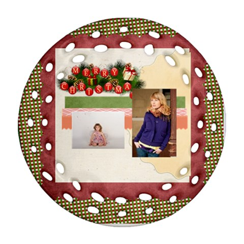 Merry Christmas By Anita   Ornament (round Filigree)   7jqvkr1fgn63   Www Artscow Com Front