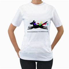 Flying Christmas Ornaments By Riksu   Women s T Shirt (white) (two Sided)   Zkq0lj2hwi7o   Www Artscow Com Front