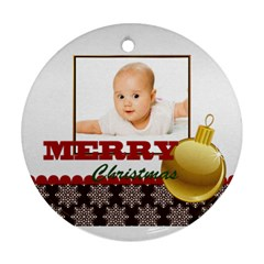 Merry Christmas By Wood Johnson   Round Ornament (two Sides)   Ulrzfamm5t7b   Www Artscow Com Back