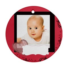 Merry Christmas By Wood Johnson   Round Ornament (two Sides)   R007geq3huiu   Www Artscow Com Front