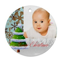 Merry Christmas By Wood Johnson   Round Ornament (two Sides)   7rvxoqlslmo4   Www Artscow Com Back
