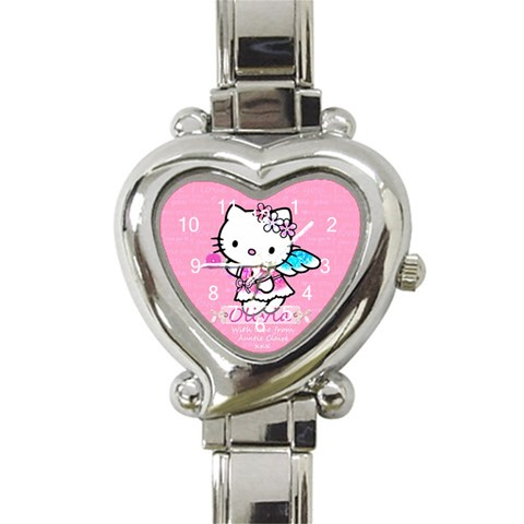 Hello Kitty Olivias Watch By Claire Mcallen   Heart Italian Charm Watch   Bzwe2dpxh25r   Www Artscow Com Front