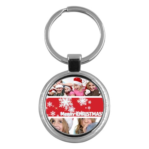 Merry Christmas By M Jan   Key Chain (round)   P9e3mtwsao0a   Www Artscow Com Front
