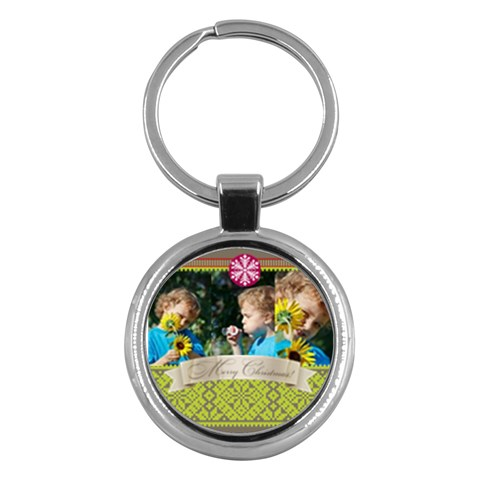 Merry Christmas By M Jan   Key Chain (round)   Jzo6zs4alb49   Www Artscow Com Front