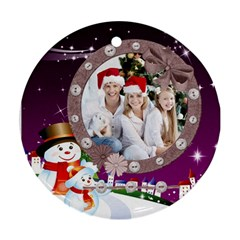 Christmas By Joanne5   Round Ornament (two Sides)   Aqb73spkglnh   Www Artscow Com Front