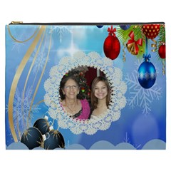 Snow Flakes And Ornament Cosmetic Bag (xxxl) By Kim Blair   Cosmetic Bag (xxxl)   Knce2rclw67f   Www Artscow Com Front