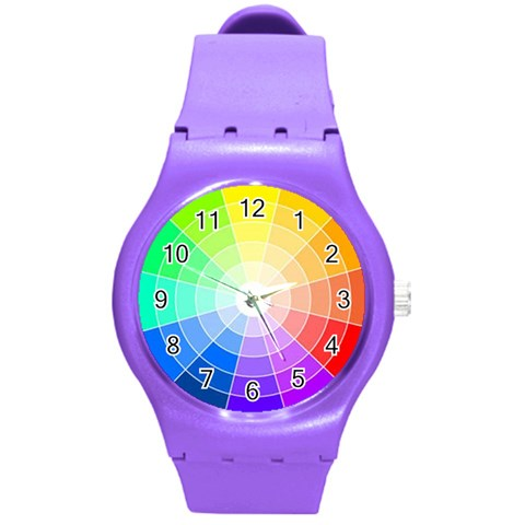 Watch Rainbow By Lou   Round Plastic Sport Watch (m)   Ssno0to3a93y   Www Artscow Com Front