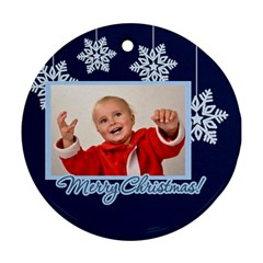 Merry Christmas By Man   Round Ornament (two Sides)   Zkggl1isq5l1   Www Artscow Com Front