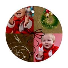 Merry Christmas By Man   Round Ornament (two Sides)   Dfswl7az46ez   Www Artscow Com Back