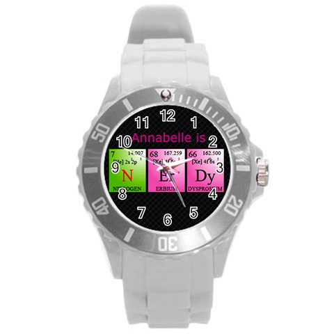 Nerdy Science Watch By Claire Mcallen   Round Plastic Sport Watch (l)   Yffordkj5zio   Www Artscow Com Front