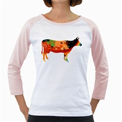 Tees Color Cow White Long Sleeve Raglan Womens  T Shirt by uTees