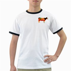 Tees Color Cow White Ringer Mens'' T-shirt by uTees