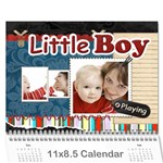 Little Boy , playing - Wall Calendar 11  x 8.5  (12-Months)