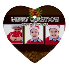 Merry Christmas, Happy New Year , Happy, Xmas By Clince   Heart Ornament (two Sides)   I4u4li9b3e30   Www Artscow Com Front