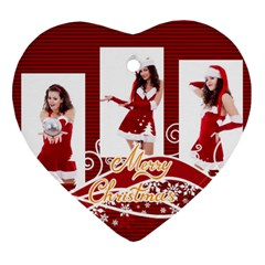 Merry Christmas, Happy New Year , Happy, Xmas By Clince   Heart Ornament (two Sides)   G8dhxdh289rm   Www Artscow Com Back
