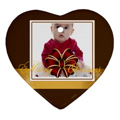 Merry Christmas, Happy New Year , Happy, Xmas By Clince   Heart Ornament (two Sides)   48r4x0167ylr   Www Artscow Com Back