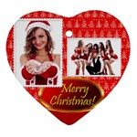 merry christmas, happy new year , happy, xmas - Heart Ornament (Two Sides)