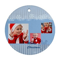 Merry Christmas By Man   Round Ornament (two Sides)   T3i1u91r1knw   Www Artscow Com Front