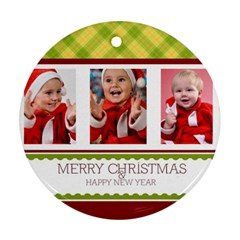Merry Christmas By Man   Round Ornament (two Sides)   R1p8jn072gjh   Www Artscow Com Front