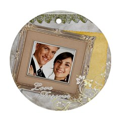 Wedding By Paula Green   Round Ornament (two Sides)   Qk13ucduxv9l   Www Artscow Com Back